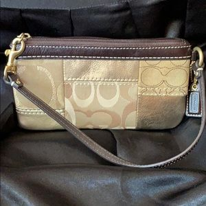 Gold & Brown Coach Leather Wristlet